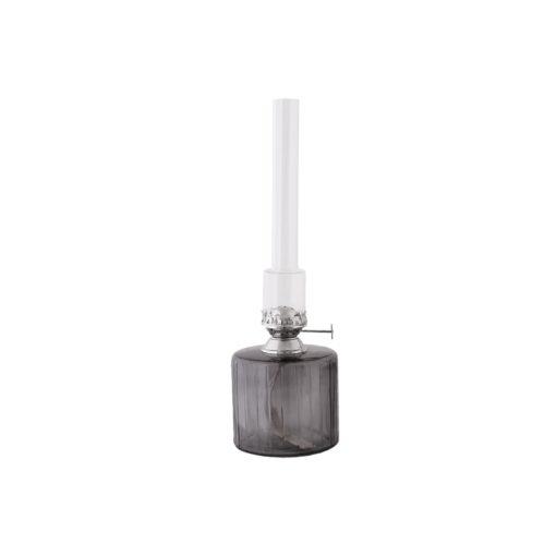 fotogenlampa oljelampa rökgrått glas silver nickel detaljer