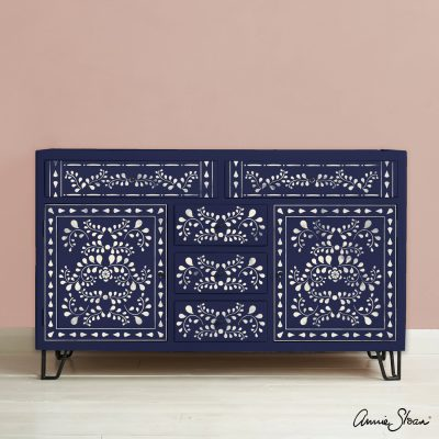 Faux-Bone-Inlay-Stencil-Furniture-Oxford-Navy-and-Antoinette-Background