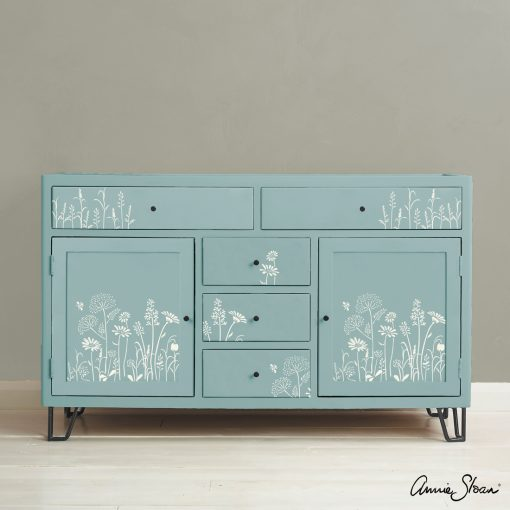 Meadow-Flowers-Stencil-Furniture-Old-White-on-Provence-schablon-annie-sloan-chalk-paint-mobler-vagg