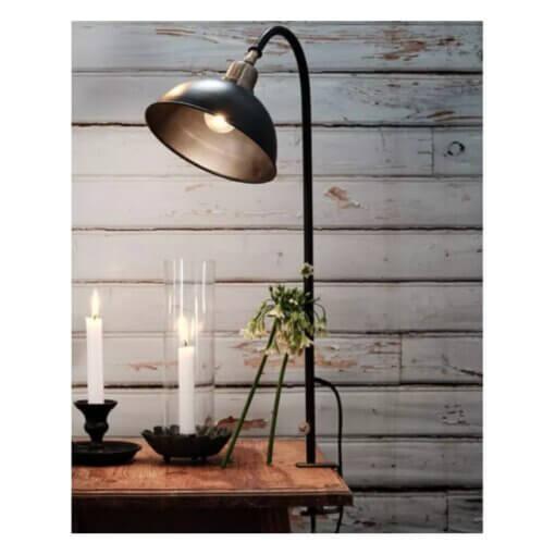 bordslampa-svart-metall-massing-sanglampa-hylla-fonsterbrada-kok-textilsladd-bokhylla