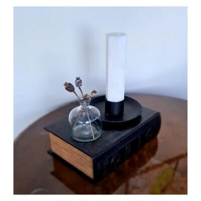 ljusstake handsmidd jarnsmide svart spindelljus 5 cm